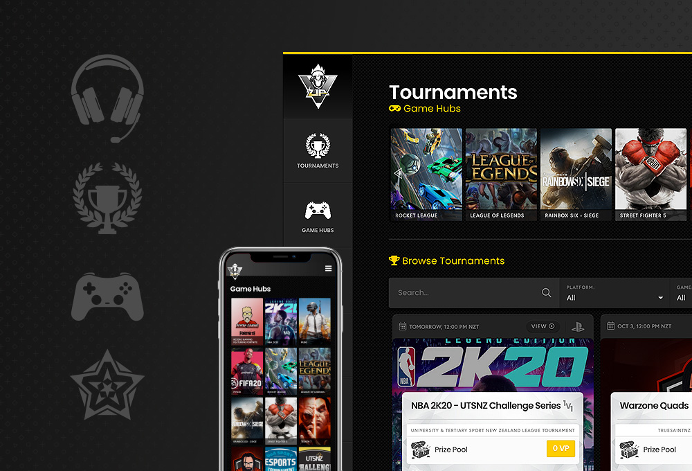 Gaming website design example